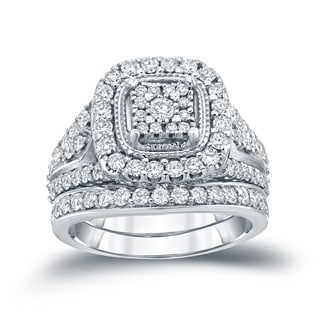 Auriya 14k 1 1/2ct TDW Round Diamond Cluster Bridal Ring Set ( H-I I1-I2)