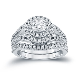 Auriya 14k 1 1/5ct TDW Round Diamond Cluster Bridal Ring Set ( H-I I1-I2)