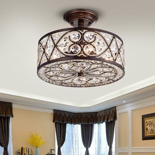 Warehouse of Tiffany Quiver Crystal Antique Bronze 13-inch 4-light Semi-flush-mounted Ceiling Lamp