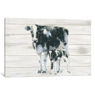 iCanvas 'Cow And Calf On Wood' by Emily Adams Canvas Print
