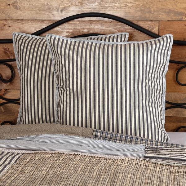 Grey Farmhouse Bedding VHC Ashmont Euro Sham Cotton Striped Seersucker