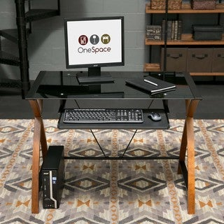 OneSpace 50-JN15K05 Glass and Wood Computer Desk with Pullout Keyboard Tray