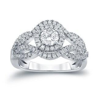 Auriya 14k Gold 1ct TDW Diamond Cluster Engagement Ring ( H-I I1-I2)