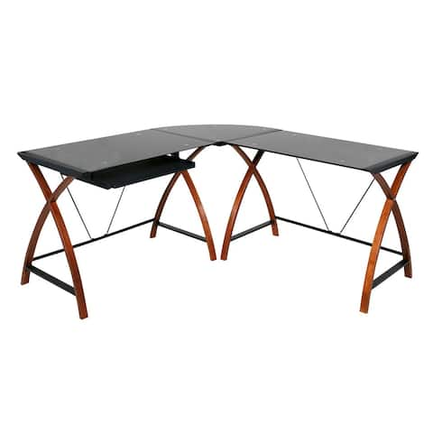 OneSpace 50-JN15L05 Modern L-Shaped Glass and Wood Desk