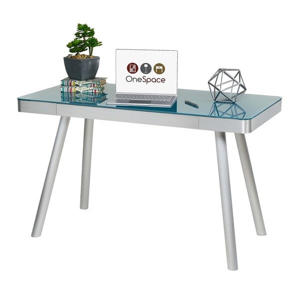 OneSpace 50-JN1407 Cool Blue Glass Writing Desk with Brushed ...