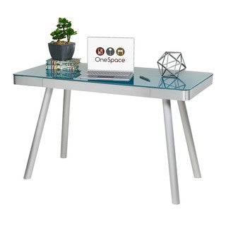 OneSpace 50-JN1407 Cool Blue Glass Writing Desk with Brushed Aluminum Frame