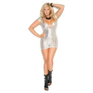 Elegant Moments Plus Size silver Lamé cut out deep V short sleeve mini dress