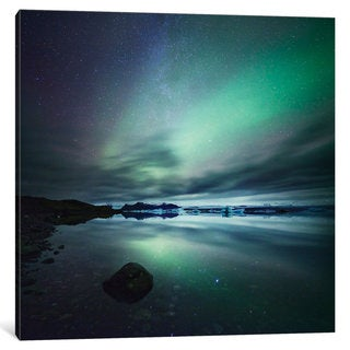 iCanvas 'Aurora Borealis (Northern Lights) Over Glacial Lagoon, Iceland' by Matteo Colombo Canvas Print