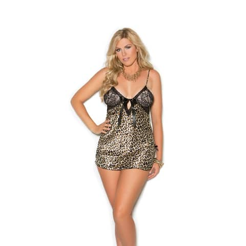 Elegant Moments plus size charmeuse print chemise with lace cups