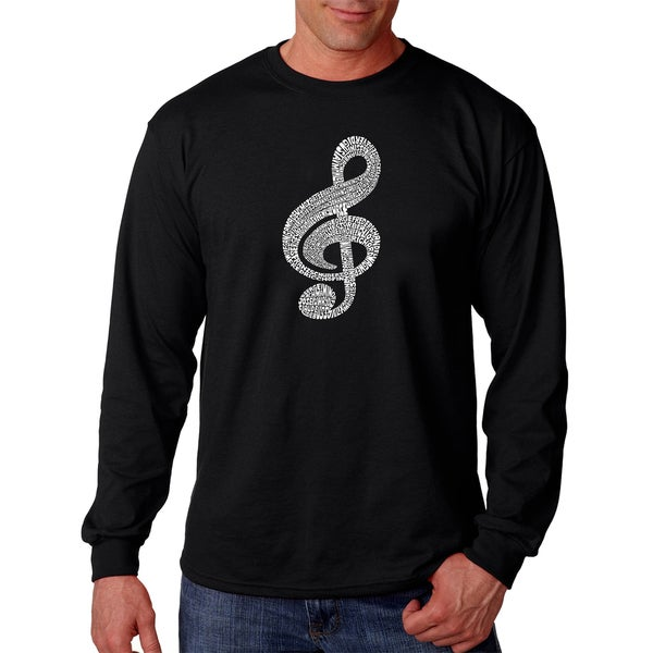 Los Angeles Pop Art Mens Long Sleeve T-shirt - Music Note