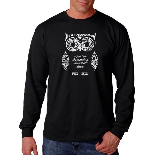 Los Angeles Pop Art Mens Long Sleeve T-shirt - Owl