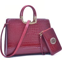 Dasein Faux Patent Leather Croco Briefcase w/ Bonus Shoulder Strap & Zip Around Emblem Wallet