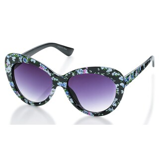 Laura Ashley LASG1111BK Womens Floral Printed Frame Smoke Lens Sunglasses