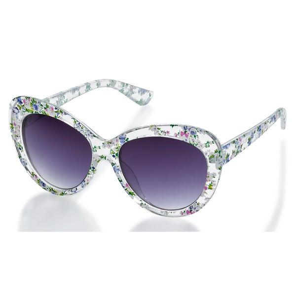 2b07e8fafaa Laura Ashley LASG1111CLR White Floral Printed Frame Smoke Lens Sunglasses -  Multi