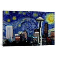 iCanvas 'Seattle, Washington Starry Night Skyline' by iCanvas 'Canvas Print
