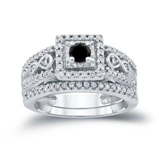 Auriya 14k 3/5ct TDW Round Black Diamond Cluster Bridal Ring Set ( H-I I1-I2)