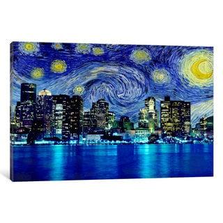 iCanvas 'Boston, Massachusetts Starry Night Skyline' by iCanvas 'Canvas Print