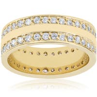 14K Yellow Gold 1 1/2 TDW Diamond Double Row Eternit Band Wedding High Polished Ring (I-J,I2-I3)