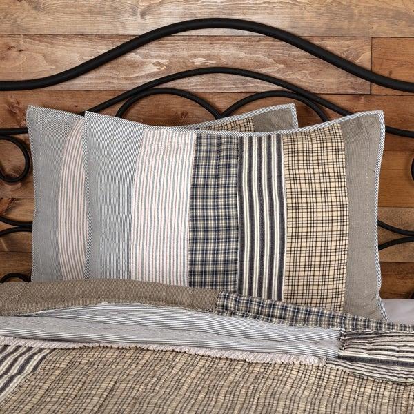 Grey Farmhouse Bedding VHC Ashmont Sham Cotton Striped Seersucker
