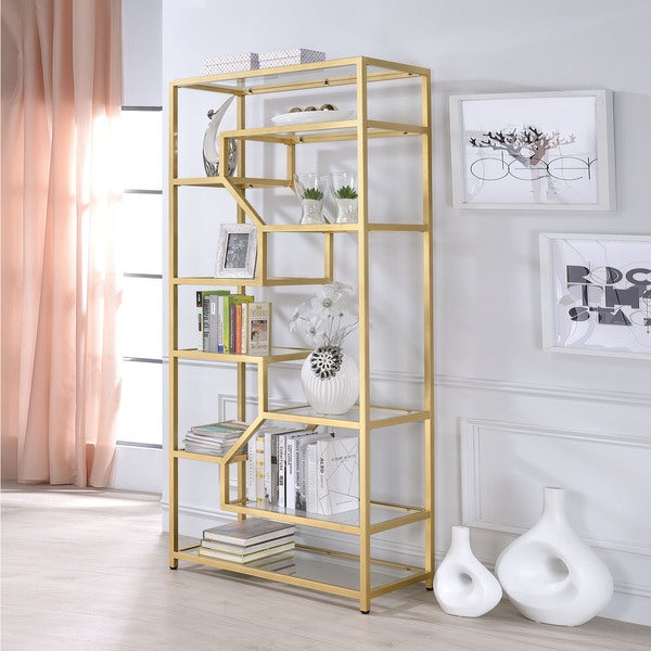 Acme Furniture Lecanga Clear Glass And Goldtone Metal Bookshelf