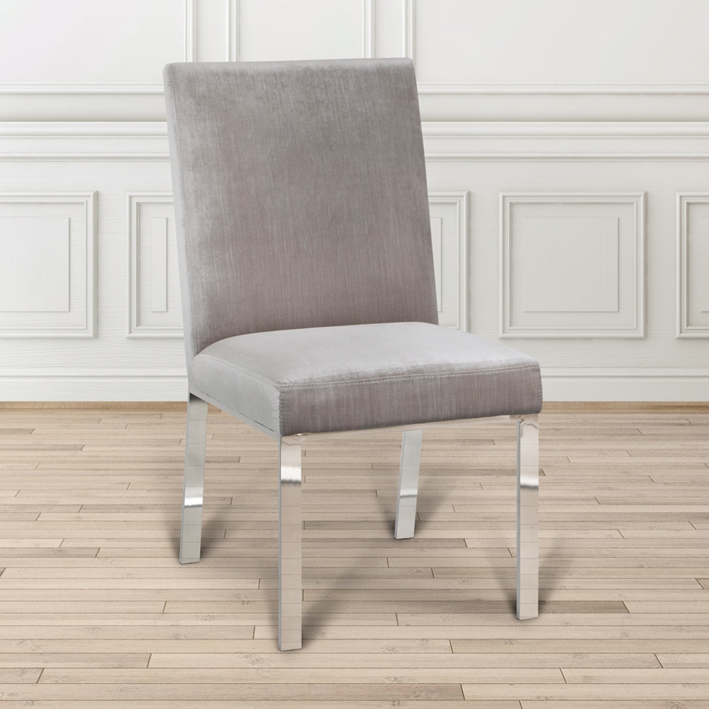 Modern Gray Upholstered Metal Dining Room Chair, White (F...