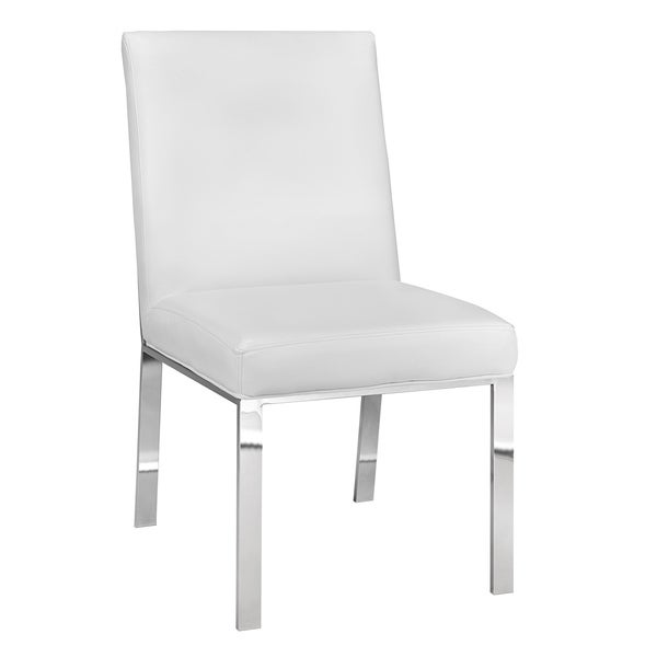 White Leather Dining Room Set: Shop Modern Faux White Leather Upholstered Metal Dining