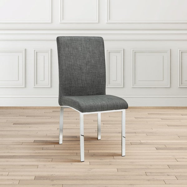 Contemporary Grey Upholstered Metal Dining Room Chair Set (4)