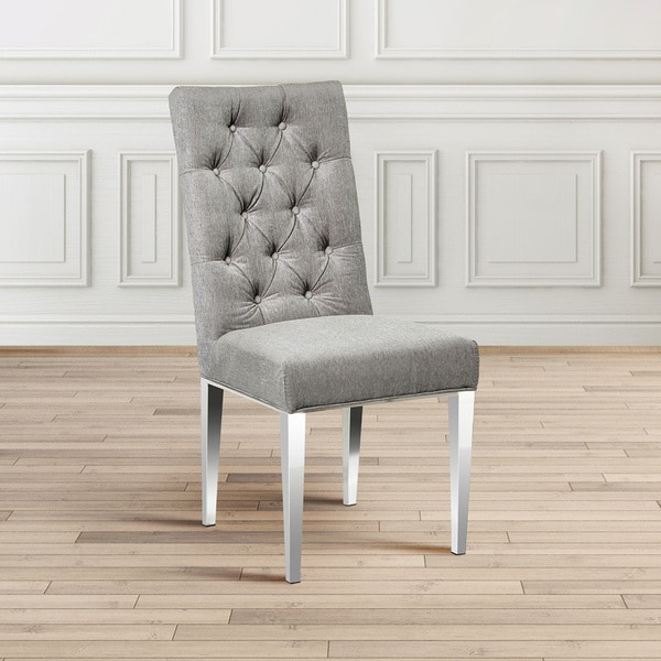 Shop Dining Room Chairs: Shop Tufted Gray Upholstered Parsons Dining Room Chair Set