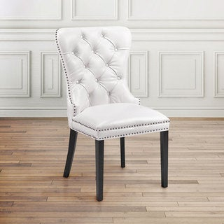 Uptown Club Aston Diamond Tufted Nailhead Trim Leatherette upholstered Dining Chairs Set of 2