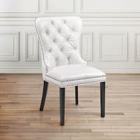 Modern Tufted White Faux Leather Upholstered Nailhead Dining  Room Chair