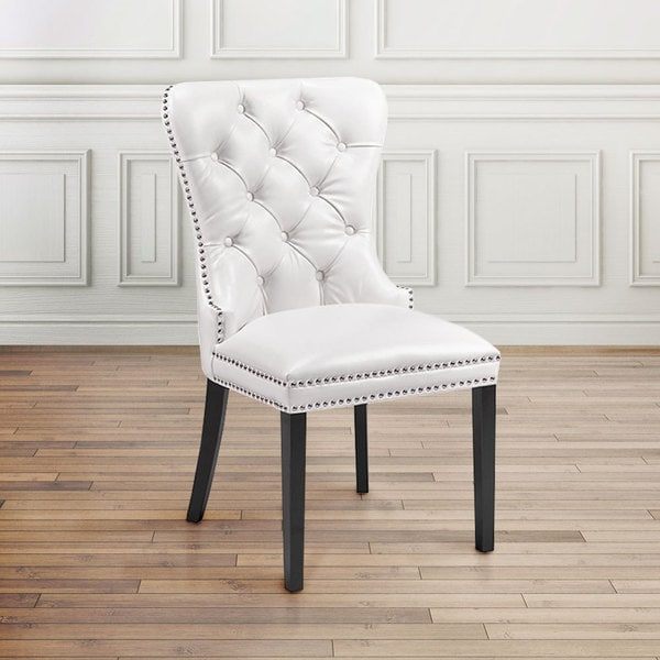 Beau Modern Tufted White Faux Leather Upholstered Nailhead Dining Room Chair
