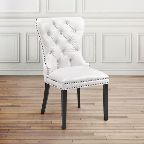 Modern Tufted White Faux Leather Upholstered Nailhead