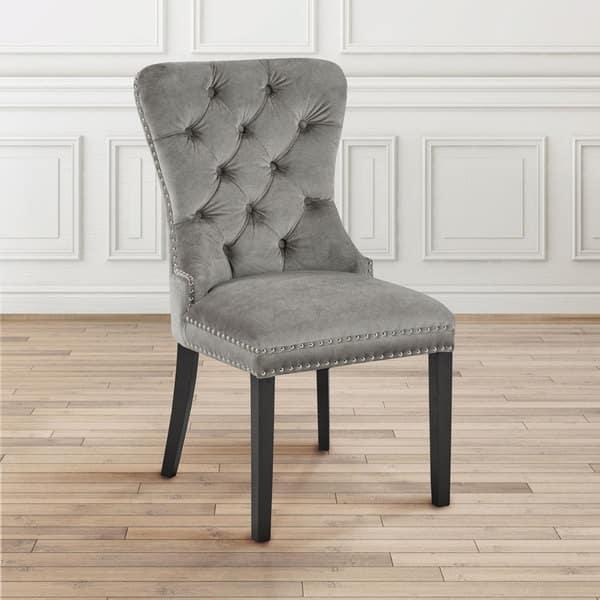 Velvet Upholstered Nailhead Dining Room Chair Free