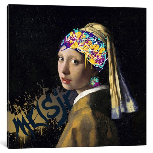 iCanvas 'Girl with a Pearl Earring -Girl with the Graffitied Earring' by 5by5collective Canvas Print