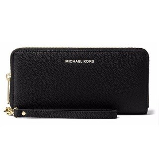 Michael Kors Mercer Black Leather Travel Continental Wristlet Wallet