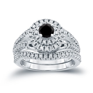 Auriya 14k 1 1/5ct TDW Round Black Diamond Cluster Bridal Ring Set ( H-I I1-I2)