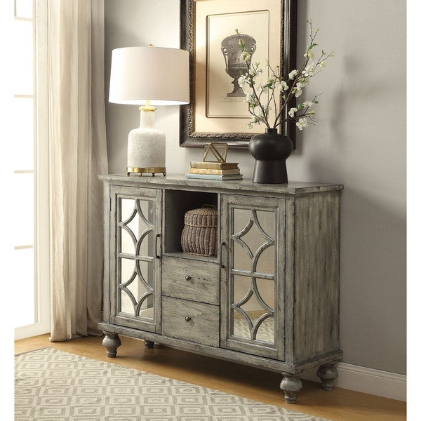 Acme Furniture Velika Weathered Grey 2 Door, 2 Drawer Console Table