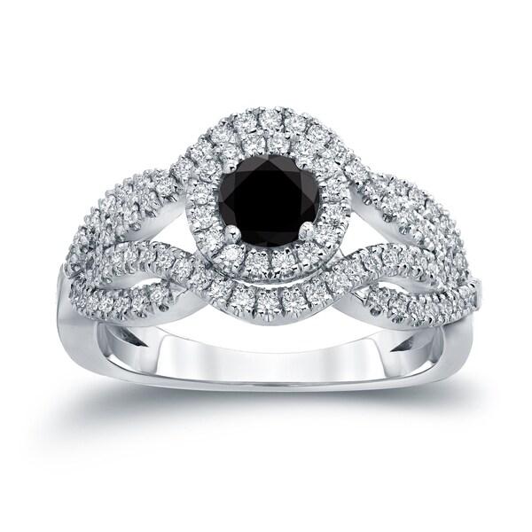 Auriya 14k Gold 1ct TDW Black Diamond Halo Engagement Ring