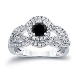 Auriya 14k Gold 1ct TDW Black Diamond Cluster Engagement Ring ( H-I I1-I2)