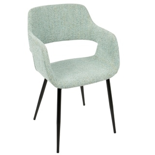 LumiSource Margarite Black Metal and Fabric Mid-Century Modern Dining and Accent Chair (Set of 2)