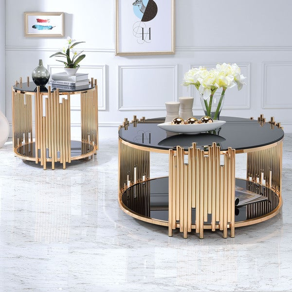 Acme Furniture Tanquin Black Glass And Goldtone Metal