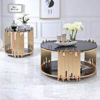Acme Furniture Tanquin Black Glass and Goldtone Metal Coffee/ End Table