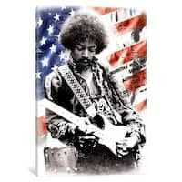 iCanvas 'Jimi Hendrix (American Flag Background)' by Radio Days Canvas Print