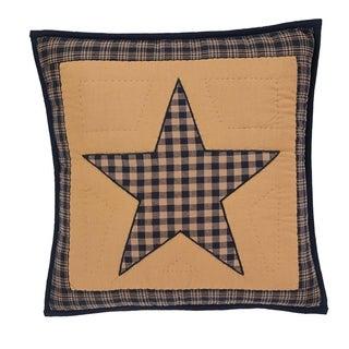 Tan Primitive Bedding VHC Teton Star 16x16 Pillow Cotton Star Appliqued (Pillow Cover, Pillow Insert)