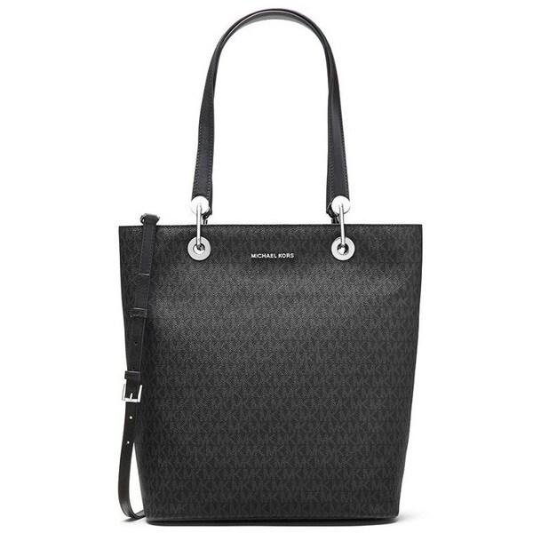 Michael Kors Raven Large Black North South Top Zip Tote Bag
