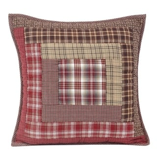 Red Rustic Bedding VHC Tacoma 16x16 Pillow Cotton Patchwork (Pillow Cover, Pillow Insert)