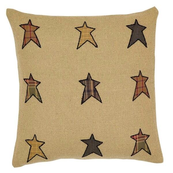 Tan Primitive Bedding VHC Stratton Star 16x16 Pillow Cotton Appliqued Cotton Burlap (Pillow Cover, Pillow Insert)