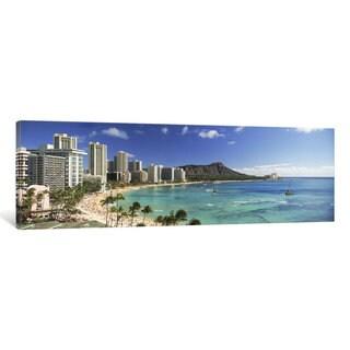 iCanvas 'Buildings along the coastlineDiamond Head, Waikiki Beach, Oahu, Honolulu, Hawaii, USA' by Panoramic Images Canvas Print