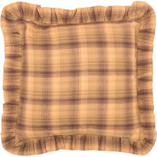 Tan Rustic Bedding VHC Prescott 16x16 Pillow Cotton Plaid (Pillow Cover, Pillow Insert)