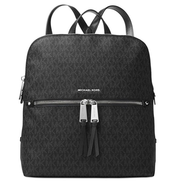cf4b29d89 Shop Michael Kors Rhea Women's Medium Black Signature Leather Fashion  Backpack - On Sale - Free Shipping Today - Overstock - 15436689